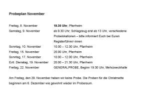 Probeplan Musikverein Odenheim November